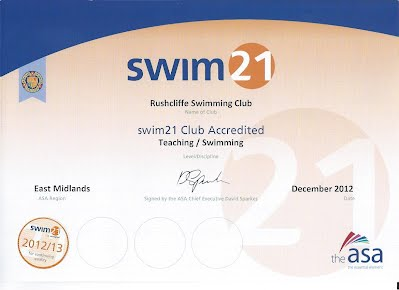 Rushcliffe Swimming Club Swim21 ceritificate